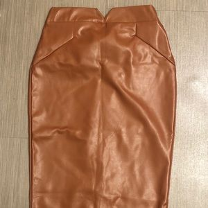 Below knew brown faux leather skirt!